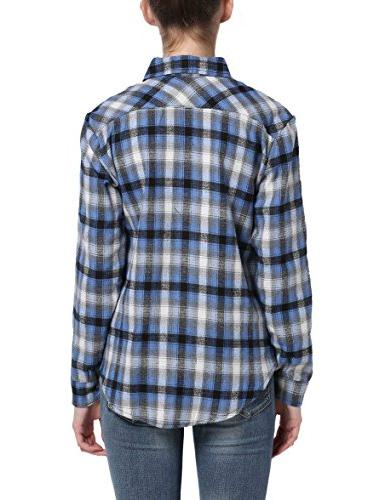 GUANYY Casual Loose Plaid Button Down Shirt