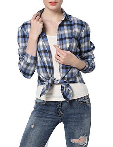 GUANYY Women's Long Casual Classic Plaid Button Down Shirt