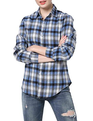 GUANYY Women's Long Sleeve Casual Plaid Button