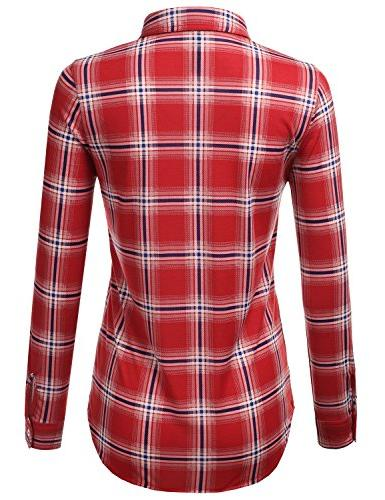 JJ Perfection Sleeve Collared Button Plaid Flannel Blouse REDROYAL