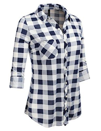 JJ Sleeve Collared Plaid S