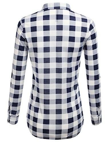 JJ Perfection Sleeve Collared Button Plaid Shirt S