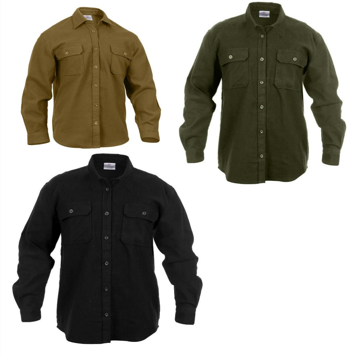 long sleeve flannel shirt extra heavyweight solid