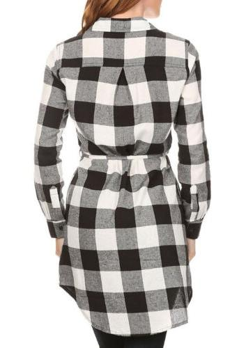 Long Flannel Down Belted Tunic Shirt Dress S ~