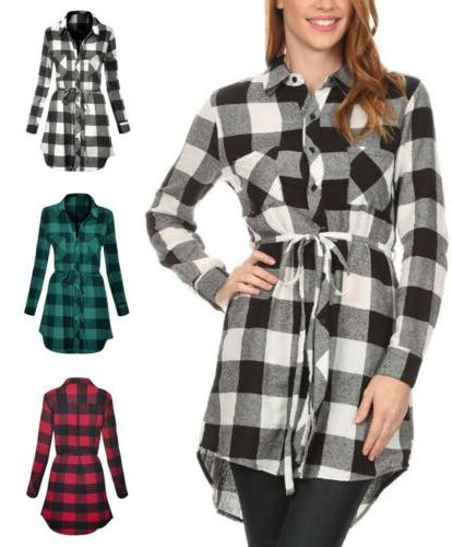 long sleeve plaid cotton flannel button down