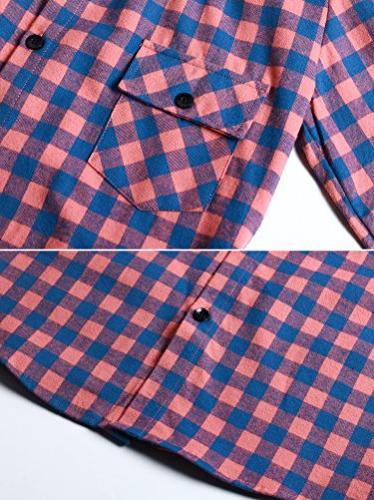 OCHENTA Women's Button Down Plaid Flannel Shirt M043 Pink