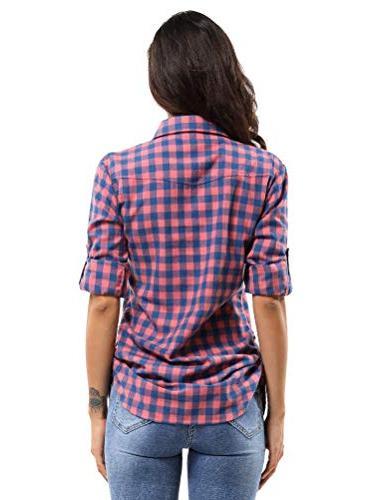 OCHENTA Button Shirt Pink 2XL