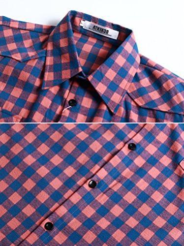 OCHENTA Long Button Plaid Shirt M043 2XL