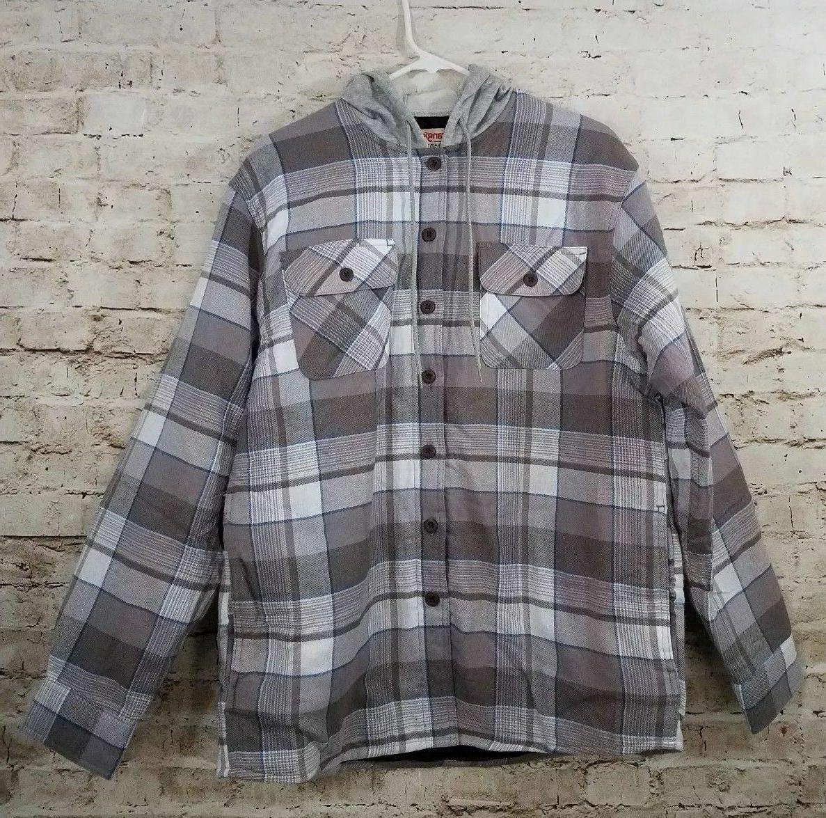 long sleeve quilted lined flannel shirt jacket