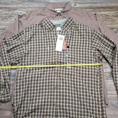 Lot Of 2 Mens Columbia Flannel Button Shirts Plaid