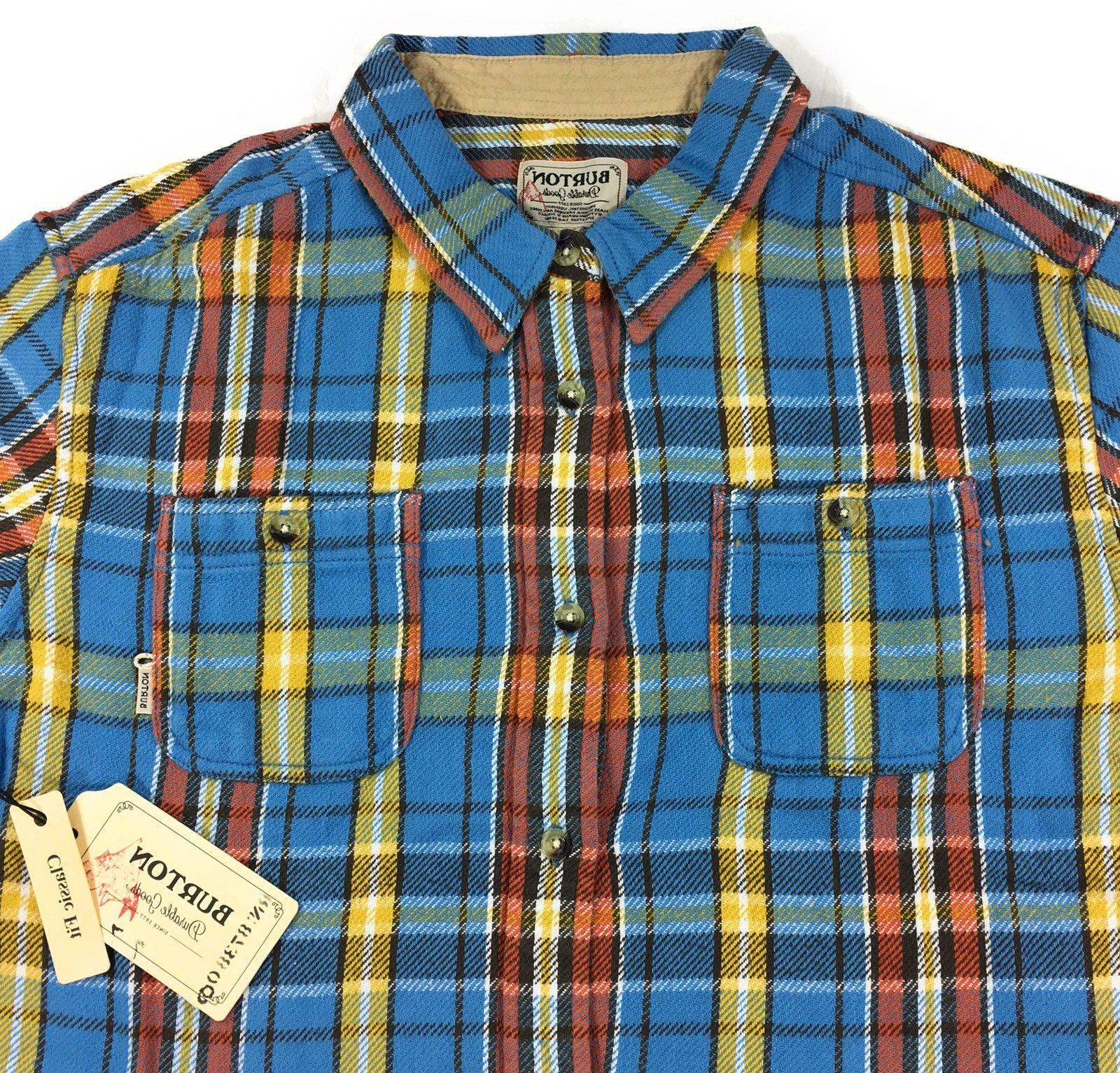 Burton Woven Flannel Shirt Blue Essex Long Sleeve