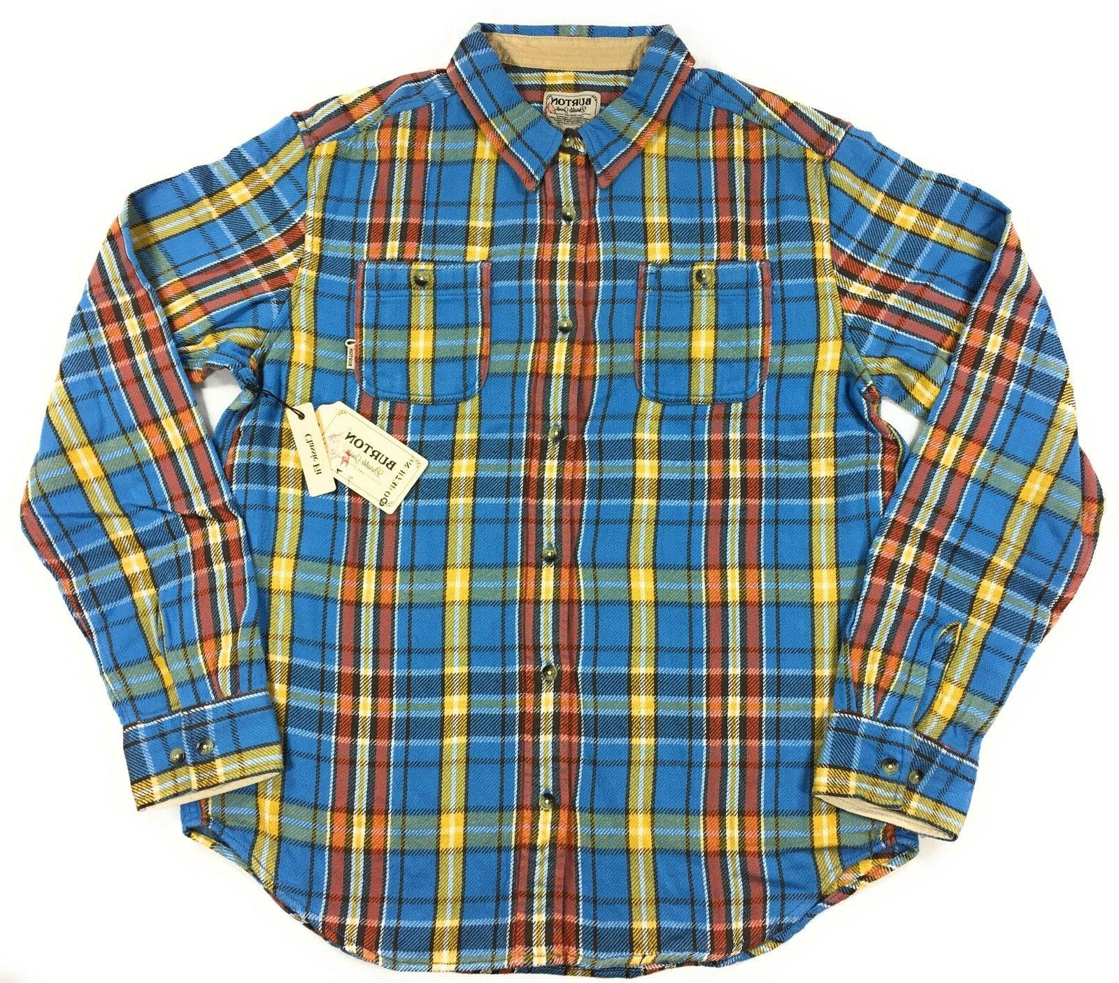 mb fairfax woven flannel shirt mens blue