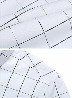 XTAPAN Men Fit Flannel Button, White-plaid,
