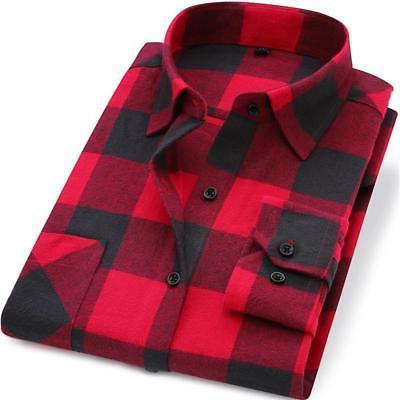 Men Flannel Plaid Shirt 100% Cotton 2019 Spring Autumn Casua