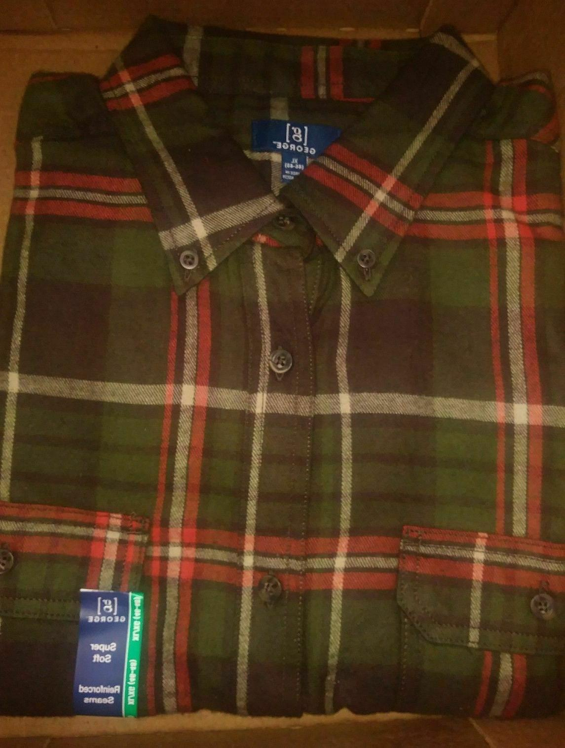 George Men Flannel Shirt NWT NEW REINFORCED SEAMS NEW