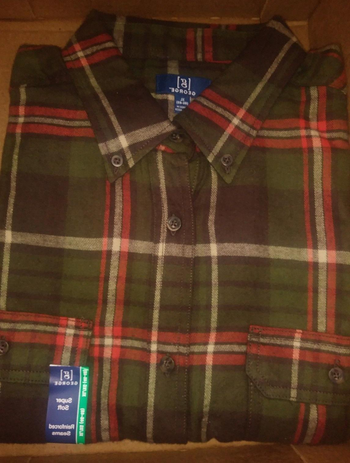 George Men Flannel Shirt NWT NEW REINFORCED SEAMS
