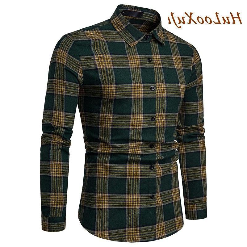 HuLooXuJi Plaid Autumn Casual Long Fit <font><b>Shirts</b></font>