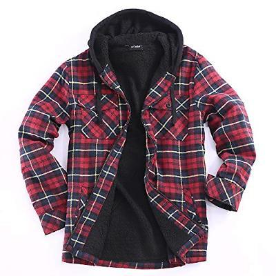 men full zip hoodie flannel jacket sherpa