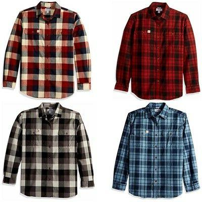 men hubbard cotton plaid flannel casual botton