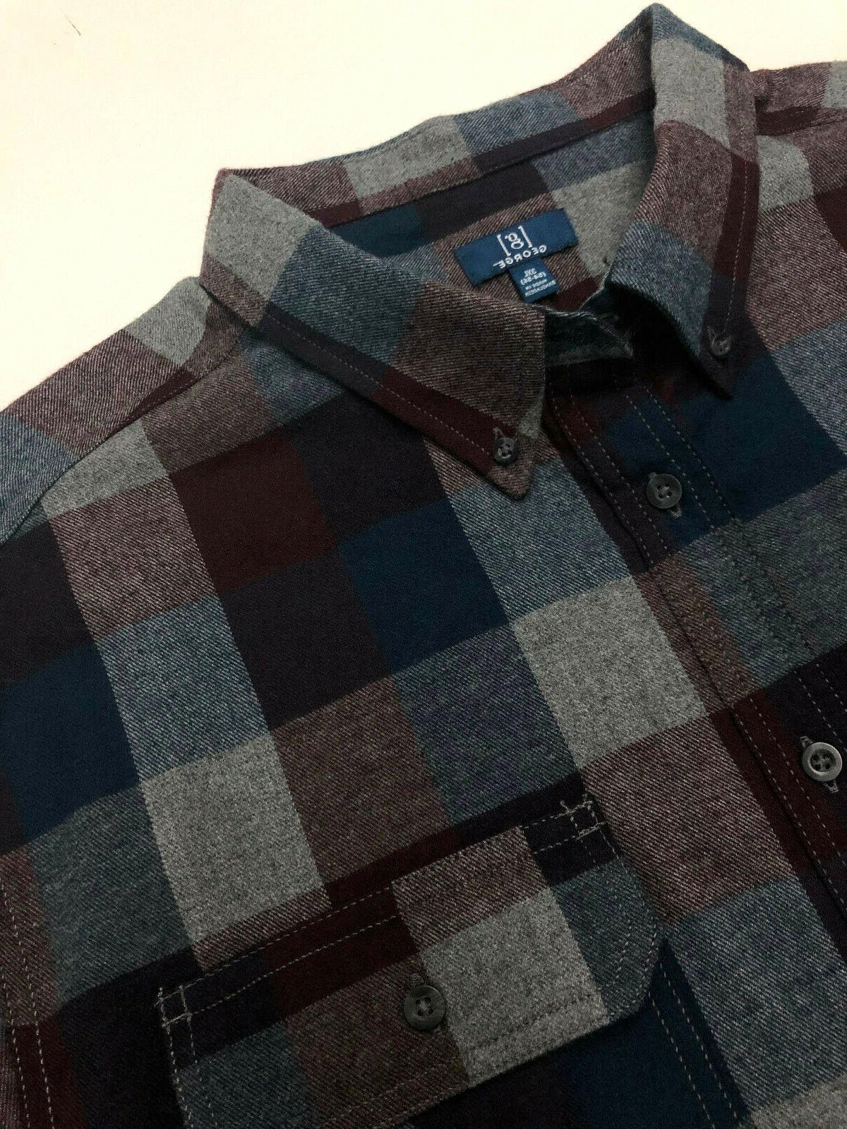 George Men Shirt Cotton Green Blue Burgundy Soft XL 2XL