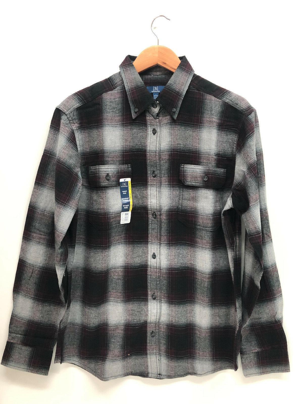 Shirt Cotton Green Blue Burgundy S