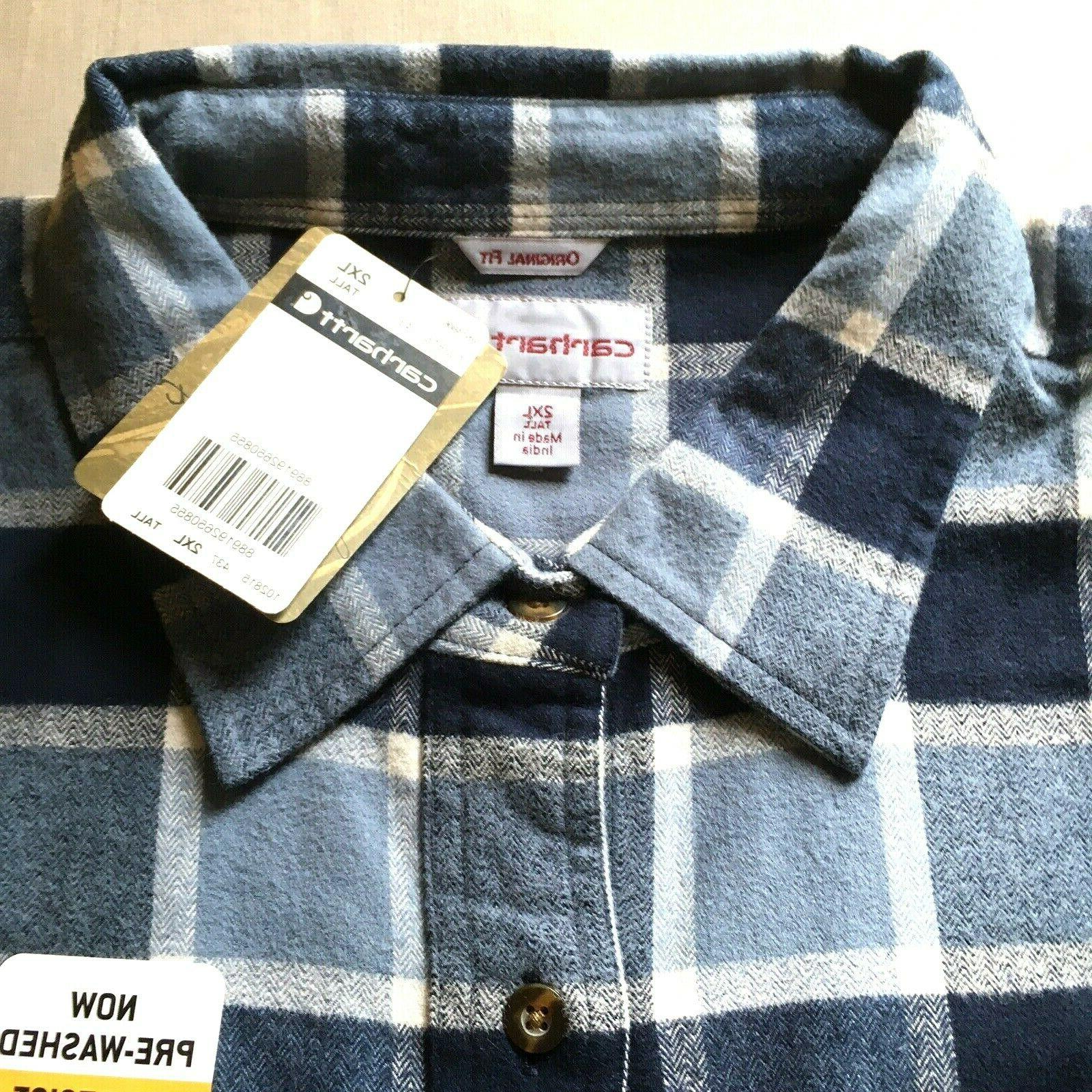 CARHARTT Men's Hubbard Plaid Flannel Shirt 102815 XXLT NWT