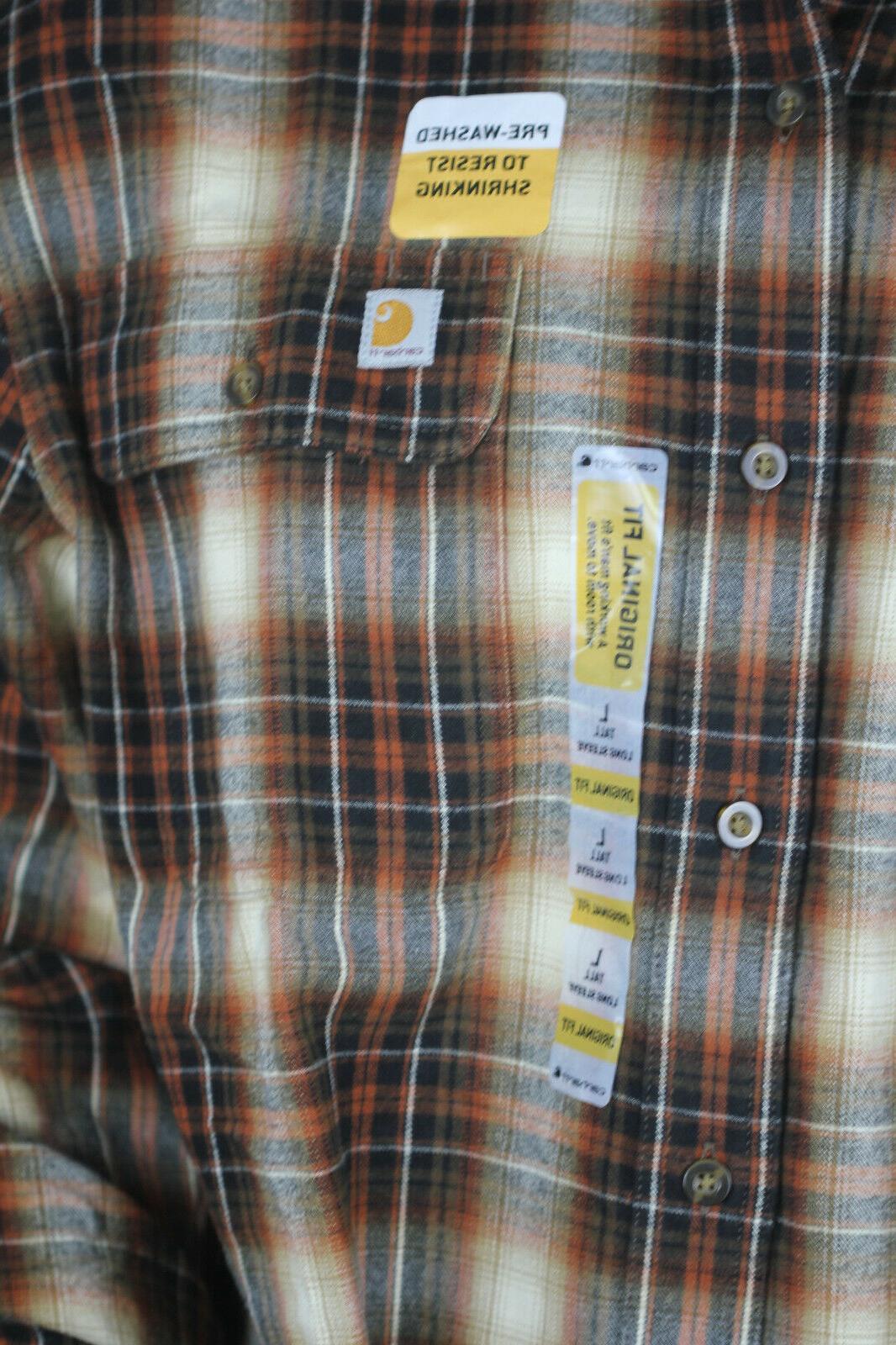 Carhartt Men's Tall Plaid Shirt, Sequoia,