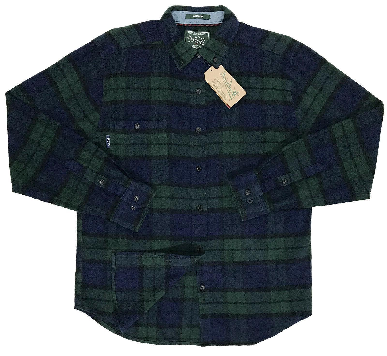 Men's WOOLRICH Blue Black Shirt XL NEW