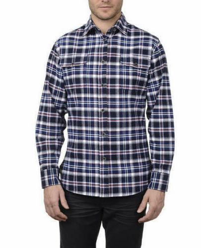 Jachs Men's Brawny Flannel Work Shirt Cotton Button-Down VAR
