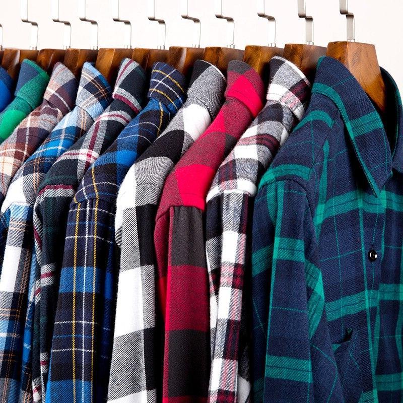 Men's Brushed Sleeve Pocket Colorful Bold Checked <font><b>Work</b></font> or