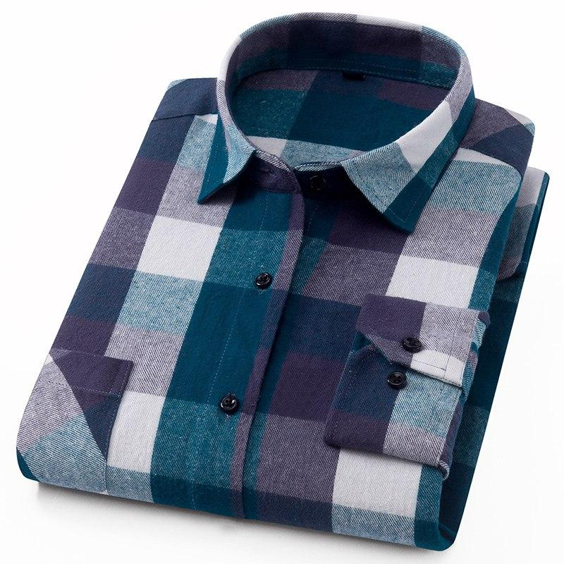 Men's Pocket Colorful Plaid Checked Pattern&100% Cotton <font><b>Work</b></font> or