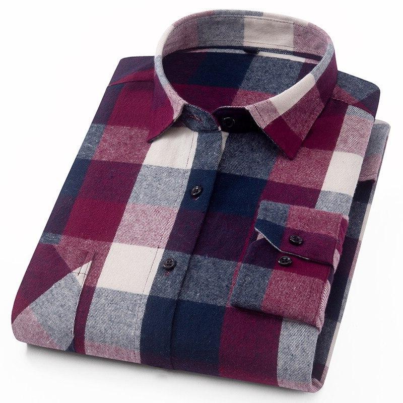Men's Sleeve <font><b>Shirt</b></font> Pocket Checked Pattern&100% <font><b>Work</b></font> or Dress