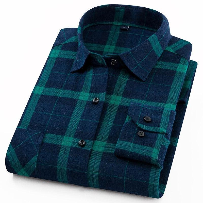 Men's <font><b>Flannel</b></font> Long Sleeve <font><b>Shirt</b></font> Single Pocket Bold or