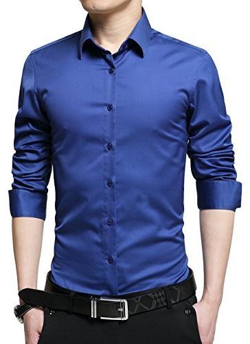 men s business slim fit long sleeve