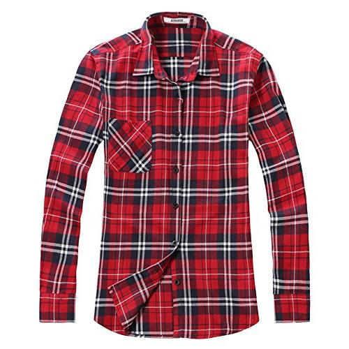 men s button down long sleeve plaid