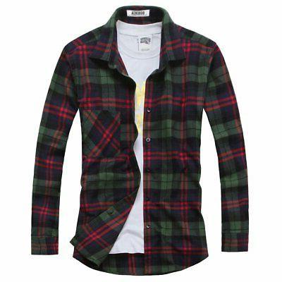 men s button down plaid flannel shirt