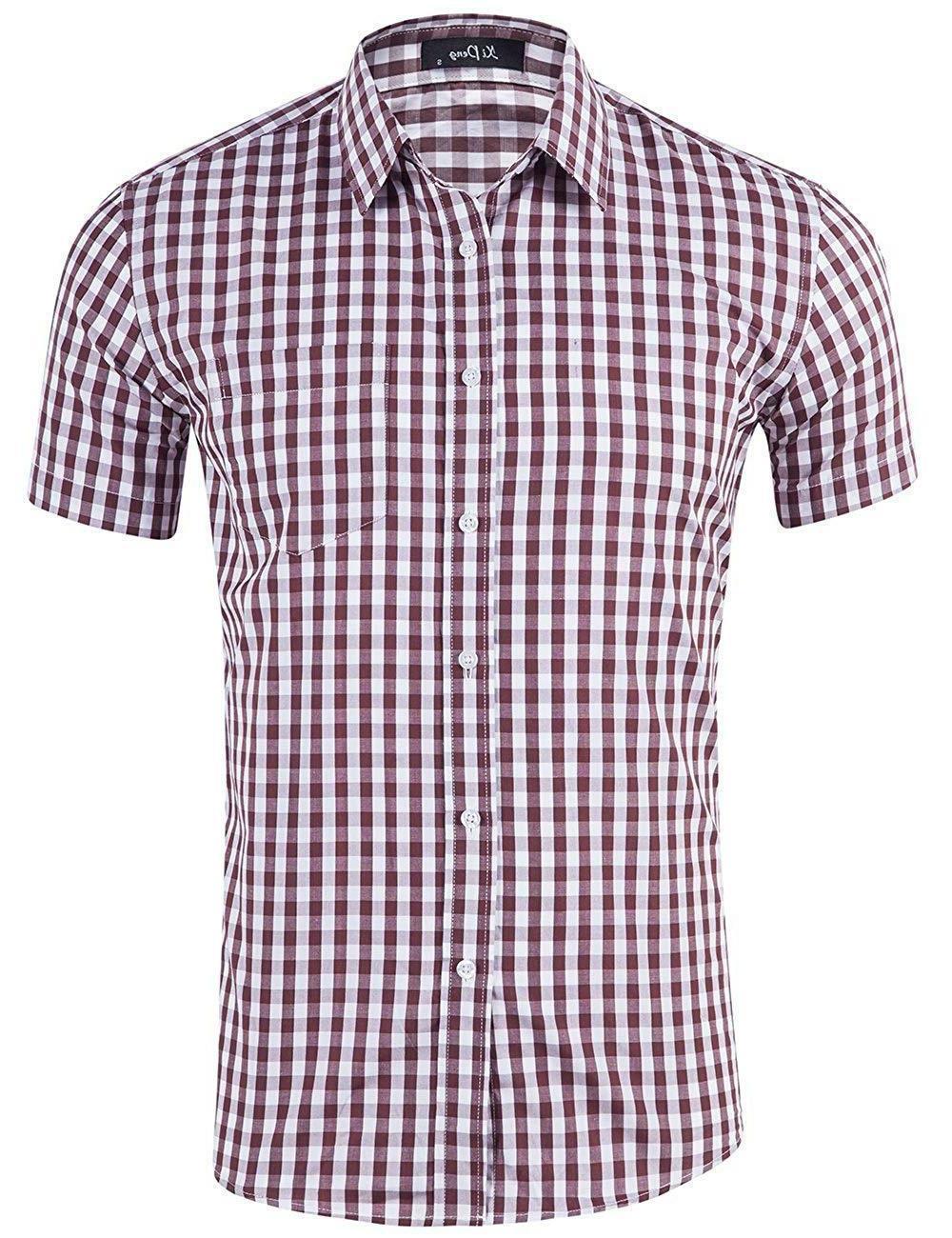 XI Men's Casual Cotton Short Sleeve Dress