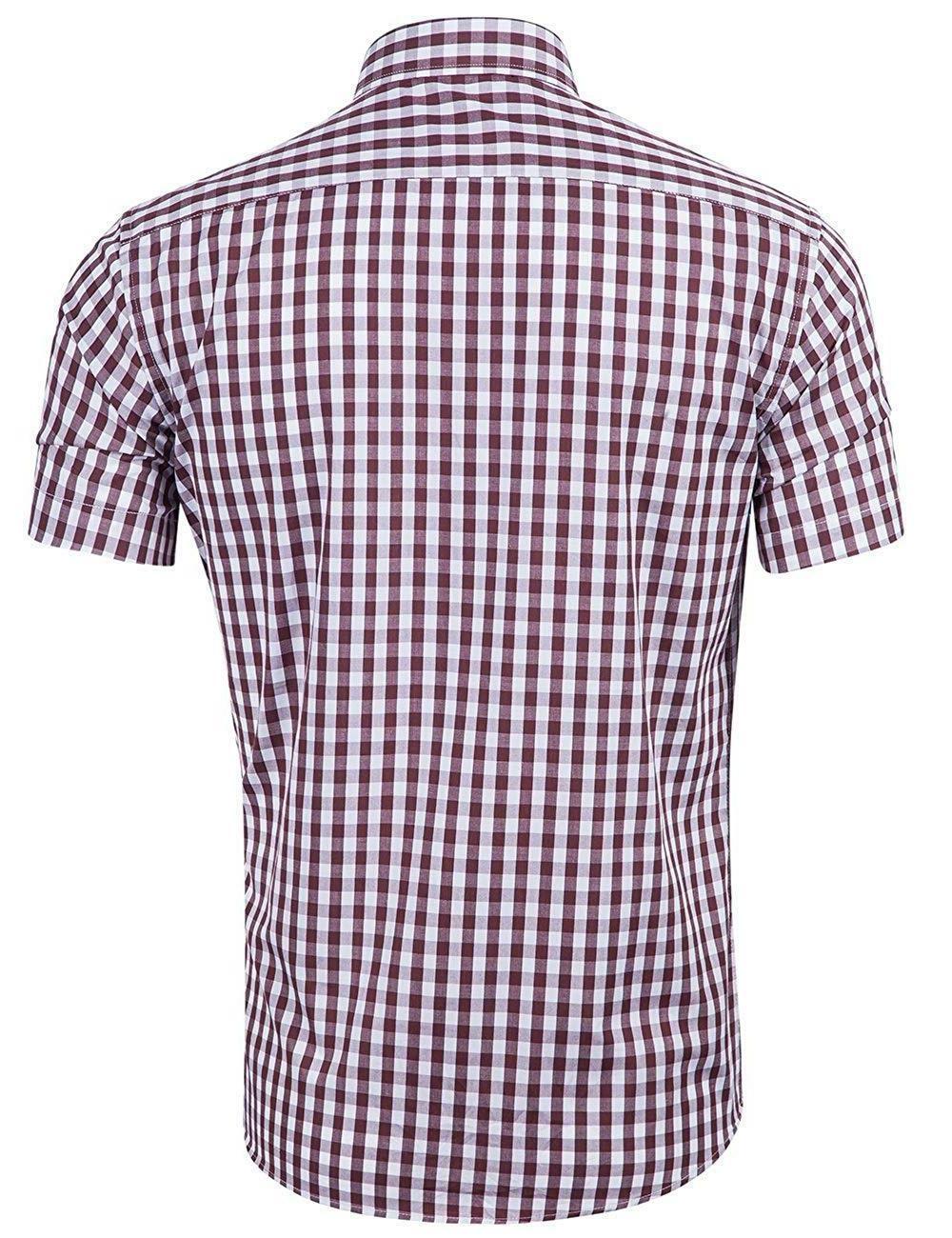 XI Casual Cotton Plaid Gingham Short Sleeve Dress