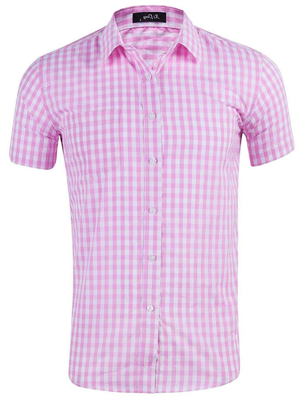 men s casual cotton plaid checkered gingham