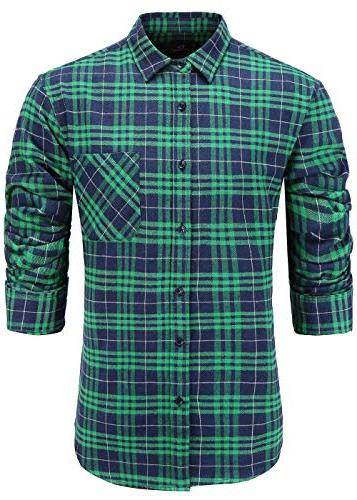 men s casual flannel cotton slim fit