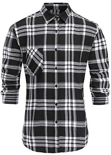 men s casual flannel cotton stylish slim