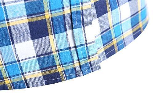 NUTEXROL Plaid Sleeveless Plus Vest Blue white yellown