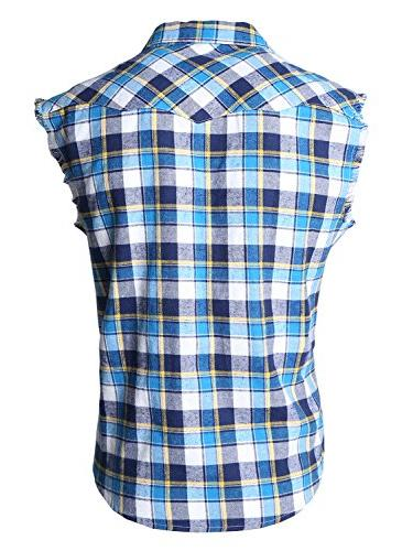 NUTEXROL Casual Plaid Shirt Sleeveless Blue and yellown