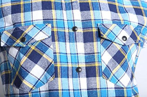 NUTEXROL Casual Flannel Plaid Shirt Sleeveless Cotton Blue and white and yellown