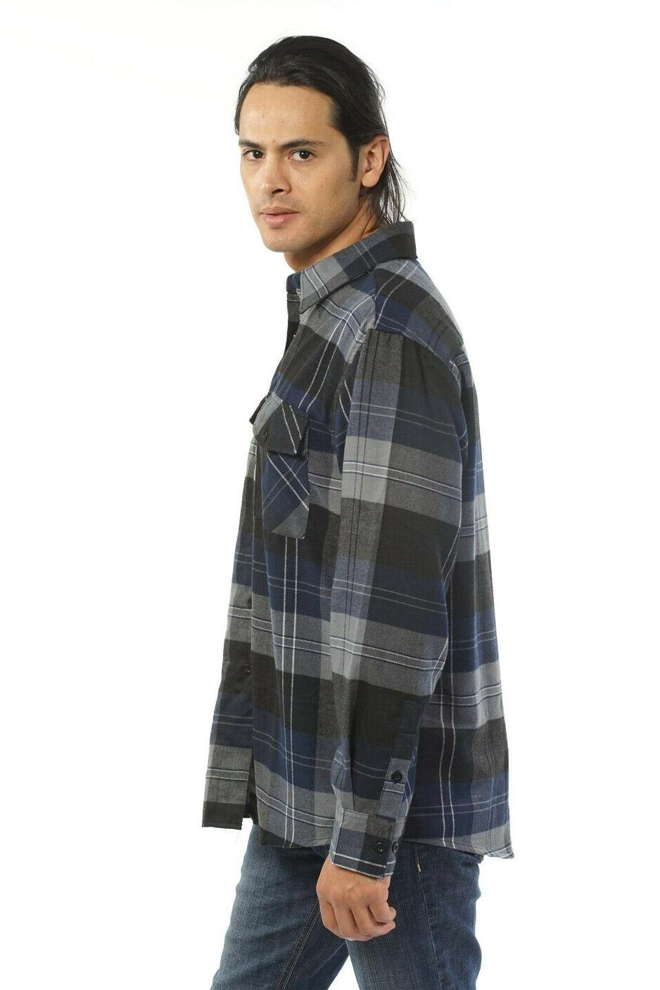 YAGO Men's Plaid Flannel Long Down Shirt Blue/2E