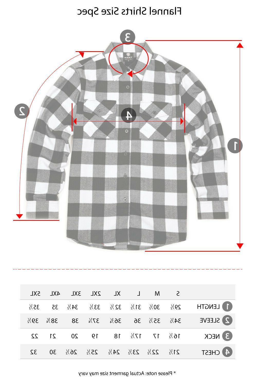 YAGO Men's Plaid Flannel Long Sleeve Down