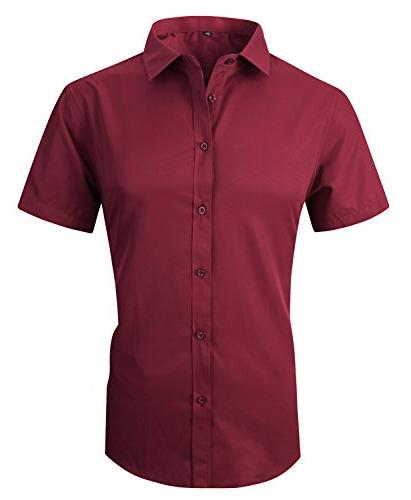 men s casual short sleeve business slim