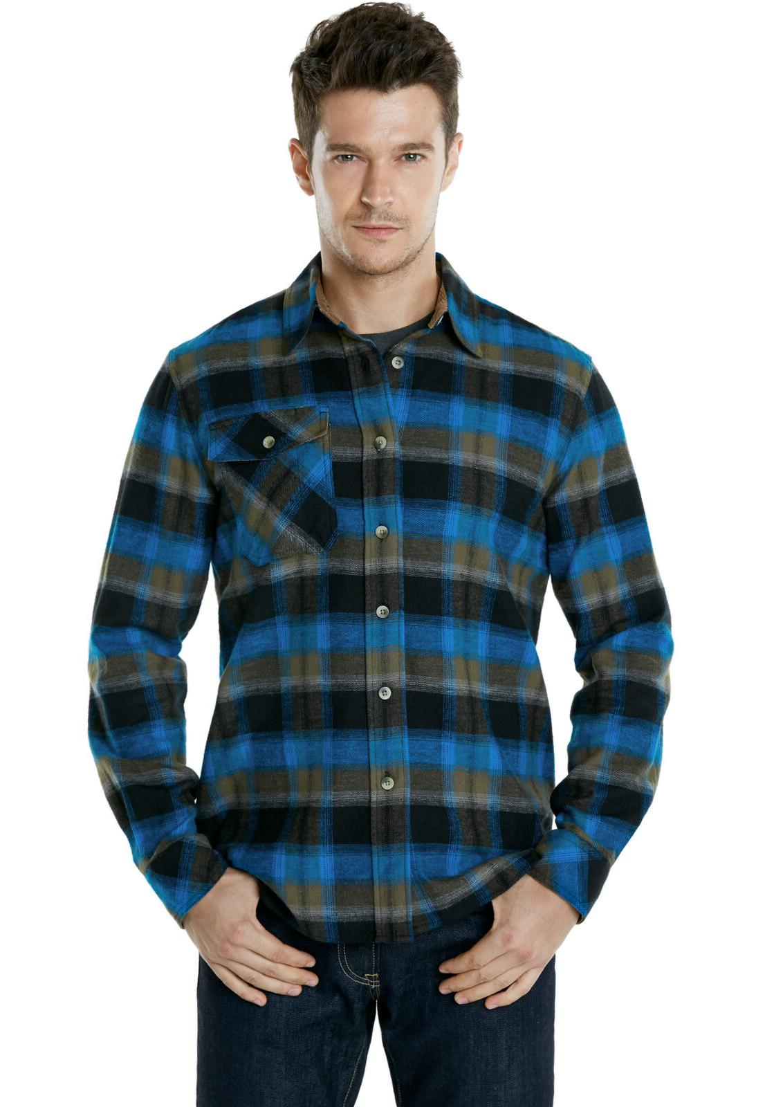 CQR Men's Cotton Flannel Shirt, Long Shirt, Outdoor Shirts