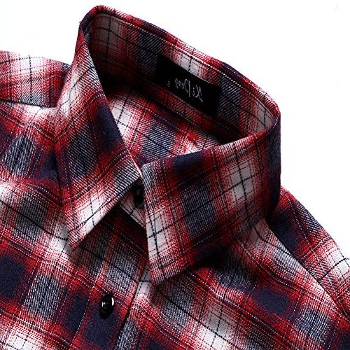 XI PENG Men's Dress Long Sleeve Shirt Thermal Plaid Checkered