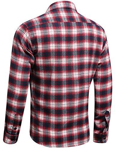 XI PENG Men's Dress Long Thermal Checkered Jacket